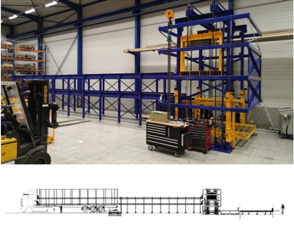 DOUBLE DECK STATIONARY (UN)LOADING CHAIN SYSTEM WITH TRAILER CHAIN TRACK SYSTEM