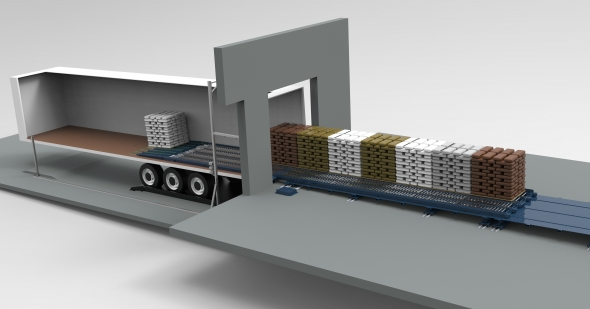 A highly innovative solution for outbound loading of both palletized goods and slip-sheeted goods
